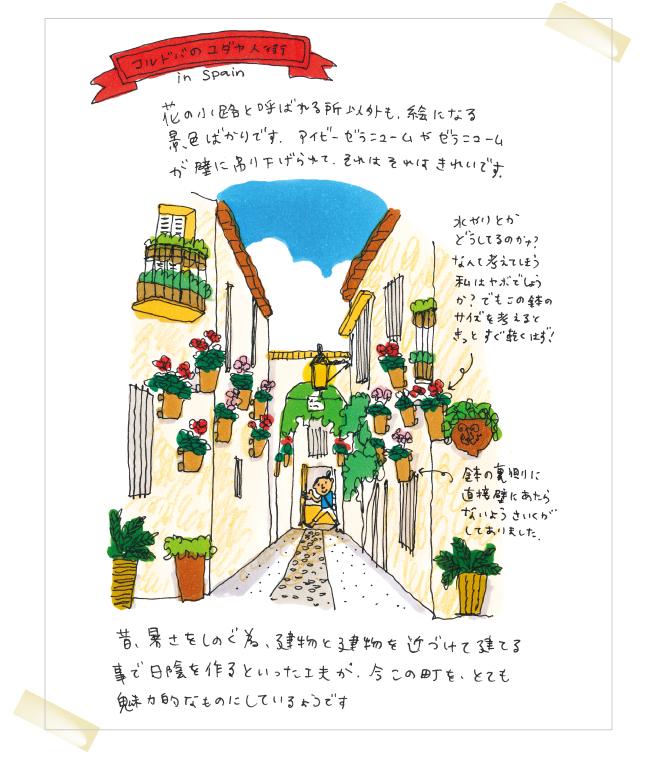 毎号、お庭の情報をお届けしているイラストレーターの五嶋さんは大の旅行好き。今回の旅日記は、スペイン コルドバの街並みについてご紹介いたします。