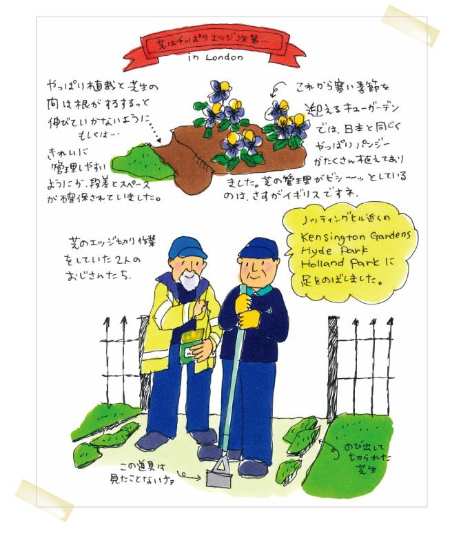 毎号、お庭の情報をお届けしているイラストレーターの五嶋さんは大の旅行好き。今回はイギリスで見かけた冬のエッジカットについてご紹介いたします。