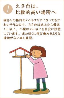 猫さんの格好のハントエリアになってもかわいそうなので、えさ台は地上から最低1m以上、小屋は2m以上を目安に設置しています。また近くに飛び乗れるような環境がない事も重要。