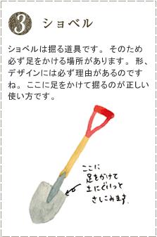 ショベルは掘る道具です。そのため必ず足をかける場所があります。形、デザインには必ず理由があるのですね。ここに足をかけて掘るのが正しい使い方です。